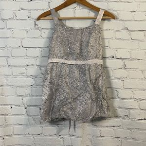 Justice Silver Dressy Glitter Top Size 18